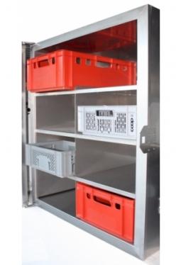 Regal in Inox für 8 Stk. E2 Kisten